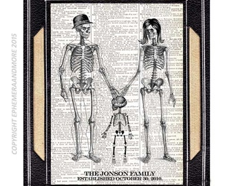 SKELETON FAMILY art print Halloween Anniversary on upcycled vintage dictionary book page anatomy humor baby child skeleton illustration 8x10