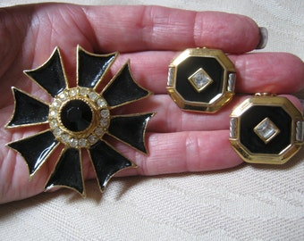 Vintage black enamel clear crystal pin brooch earrings set, Maltese cross look black pin clip earrings, large black enamel lapel coat pin