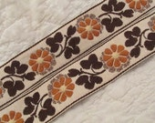 "Vintage Trim Brown Floral design 43"" x 2"""