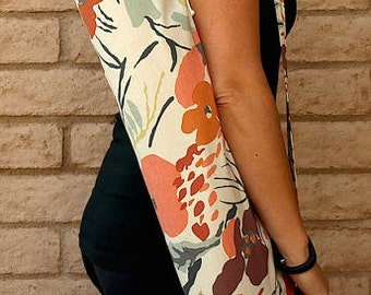 WATERCOLOR Yoga Mat Bag Yoga Mat Tote Yoga Bag Yoga Tote Yoga Sling Yoga Sac Yoga Sack, Handmade, orange floral