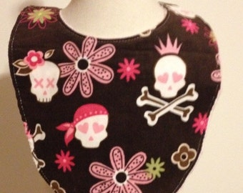 SALE skulls and flowers baby girl bib