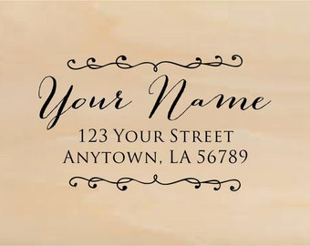 Personalized Handle Mounted Custom Made Return Address Rubber Stamps R298