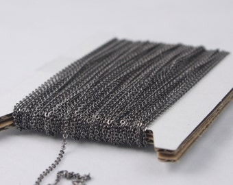 Gunmetal Chain Bulk Chain, 300 ft of Tiny Flat Soldered Necklace Wholesale Cable Chain - 2x1.4mm - Free Adequate Jumpring 500pcs