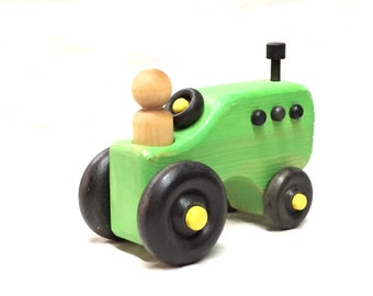 Wood toy tractor (John D inspired)