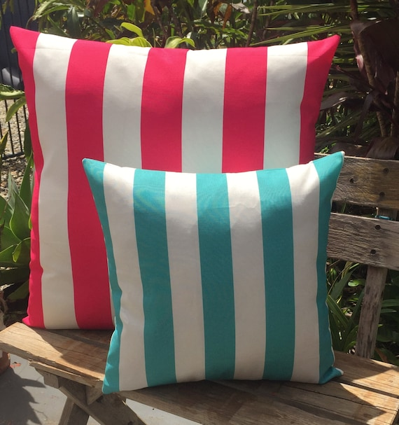 Items similar to Cushion Cover Outdoor Hot Pink and White Canopy Stripe Throw Pillow Cushion ...