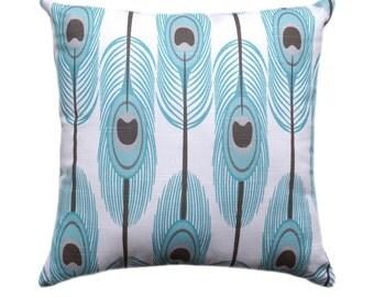 Blue Throw Pillow, Premier Prints Feathers Slub Spirit Modern Decorative Throw Pillow - Free Shipping
