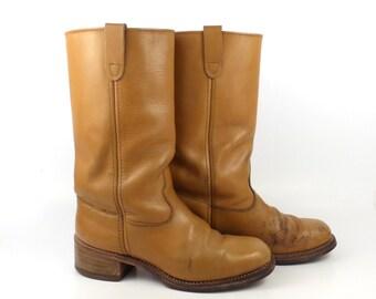 Campus Leather Boots Vintage 1970s Carmel brown Cowboy  Men's size 9 D