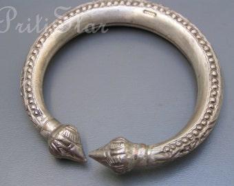 Tribal Silver Bangle . Ethnic Jewelry