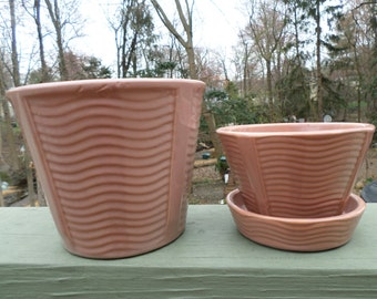 2 matching mid century McCoy Pottery wave flower pot planter with attached saucer and jardiniere bowl