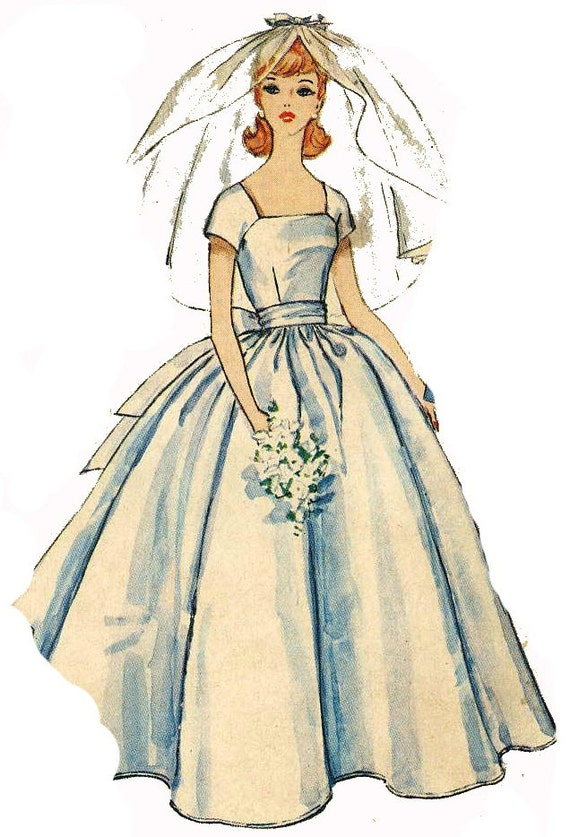 Bridal Gown Pattern For Barbie 1960s Doll Clothes By