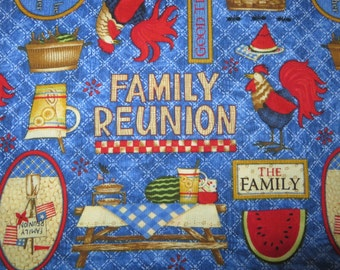 Debbie Mumm family reunion fabric great picnic scene by the half yard
