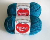 Red Heart Designer Sport Yarn Lagoon DeStash Yarn Supplies 2 Skeins