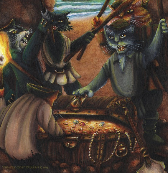 Pirate Cats Treasure Cave 78Tarot Nautical 5 of by TaraFlyArt