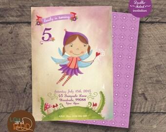 Esmeralda the Flower Fairy Custom birthday printable party invitation - original illustrated fairy invite, purple woodland fairy invitation