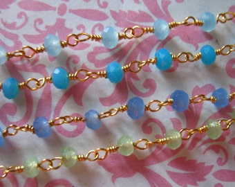New Sale.. Rosary Chain,, by foot, CHALCEDONY Wire Wrap Chain, Gold or Silver Plated, wholesale beaded chain rc.13 p sb a g solo wf