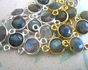 Shop Sale -  Bezel Gemstone Connectors Links, Luxe AAA, Sterling Silver or 24k Gold Vermeil, Labradorite, 15X9 mm, wholesale gcl10 gc ll