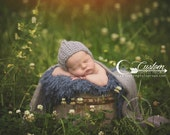 CLEARANCE Dewdrops Blue BaSkeT StuFFeR Fur Newborn Photo Props, Faux FUR, Baby Photography Props, Soft