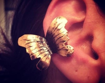 Butterfly Ear cuff - hand forged copper or bronze