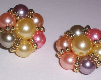 Vintage Pastel Bead Earrings - Clip Ons