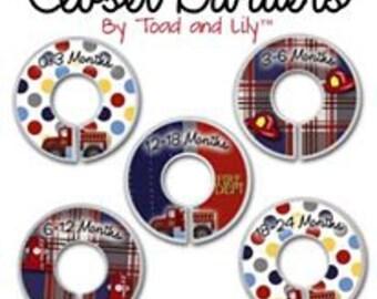 CLOSET DIVIDERS Firetruck Fireman RescueTransportation Boys Bedroom and Baby Nursery Art Decor CD0040