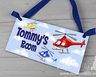 Kids DOOR SIGN Helicopter Red Blue Yellow Boys Personalized Door Sign Children's Bedroom Nursery Wall Art DS0384