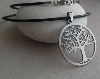 Tree of life - stainless steel pendant on natural leather cord mens or womens sacred geometry necklace