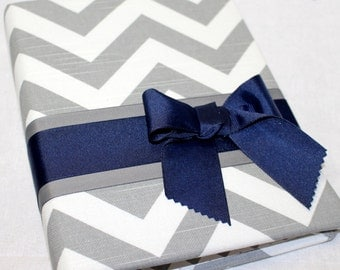 GUEST Book- BABY Shower Guest Book, Elephant Theme, Navy Blue and Gray, Gray and White Chevron fabric, Custom Colors available