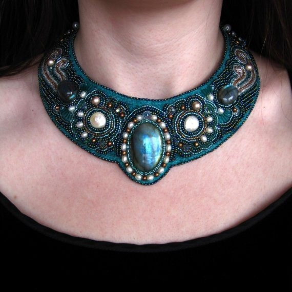 Mermaid bead embroidered necklace labradorite on