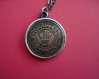 Antique Coin Necklace One Cent Novia Scotia 1864