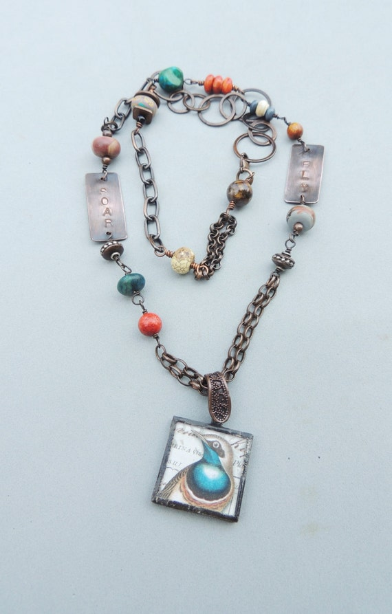 Artisan Jewelry Mixed Media Jewelry Copper Chain Necklace