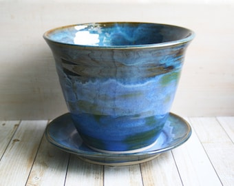 Beautiful Handcrafted Ceramic Flower Pot with Matching Dish in Textured Indigo and Hunter Green Glaze Stoneware Planter Made in USA