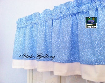 Powder Blue and White Hearts and Vines Double Layered Valance Country Kitchen Curtain