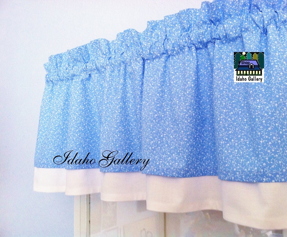 Powder Blue And White Curtain Hearts And Vines Double Layered