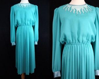 1980s Teal Secretary Dress Flame Illusion Long Sleeve Pleated Skirt Medium Large Lisa Michaels