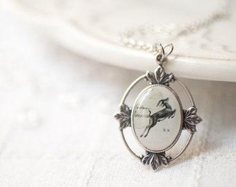 Deer necklace - Deer pendant - Deer jewelry - Animal necklace - Animal jewelry - Antler necklace - Fawn necklace - Dainty necklace (N012)