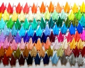 100 Large Origami Cranes Origami Paper Cranes - Made of 15cm 6 inches Japanese Paper - 100 Different Colors