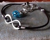 Sterling Silver Infinity to Eternity Unisex Leather Anklet or Bracelet