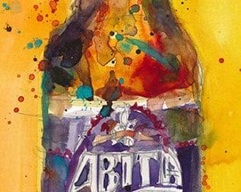 Abita Purple Haze by Abita Brewing Co. Art Print from Original Watercolor   - Man Cave -  College Dorm