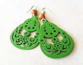 Green Pear Wooden Earrings with Chestnut Bayong Wood Beads