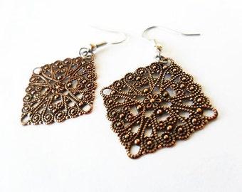 Copper Filigree Metal Earrings