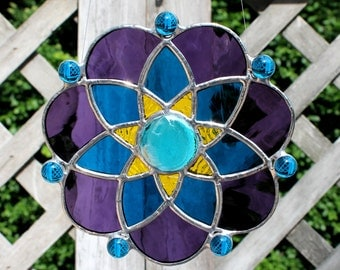 Purple, Dark Teal Blue, Yellow and Sky Blue Stained Glass Suncatcher