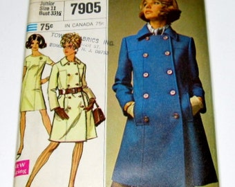 1960s Dress and Coat Pattern: Double Breasted Pea Coat, Mod Dress, Simplicity 7905, FF
