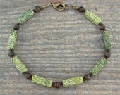 Green Stone Unisex or Mens Ankle Bracelet in Russian Serpentine and Bronzite, Sizes Small - Large - Plus Size 9, 10, 11, 12, 13, or 14 inch