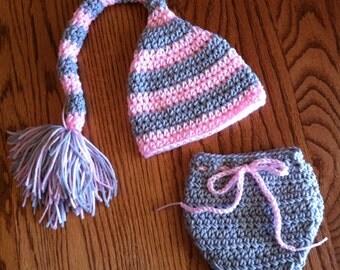 Crochet Baby Girl Hat Diaper Cover