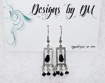 Silver & black dangle earrings