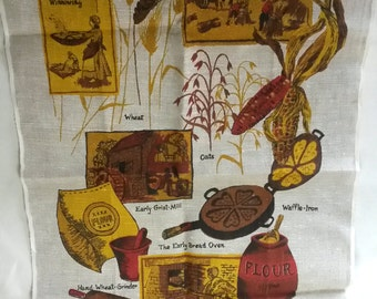 PEACE AND PLENTY tea towel, vintage 1970s, baking, hearth, waffles, brown, yellow and red, linen screen-printed towel, warm kitchen decor