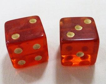 Dices vintage gaming set of two red transparent