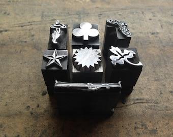 Antique all Metal PRINTERS BLOCKS - Decorative dingbat 7 piece collection