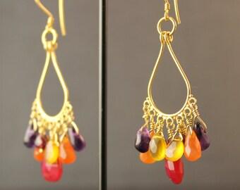 Frangipani Vermeil and Briolette Earrings - Garnet, Carnelian, Chalcedony, Amethyst and Bali Gold Vermeil Chandelier Earrings