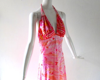 Vintage NWT Rose Marie Reid Nylon Halter Dress sz 2 4 6 S Med Malibu Lounging Gown - Palm Springs Mod 1970s Boogie Nights Country Club Glam